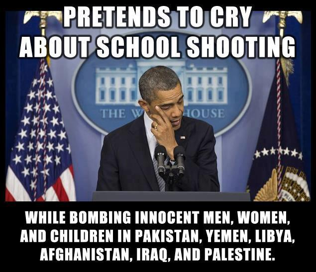 [IMG] Obama crys crocodile tears.